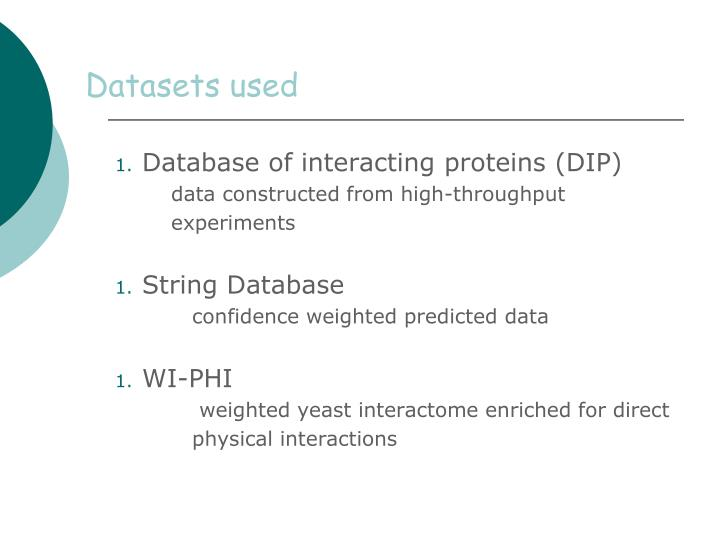 Datasets used