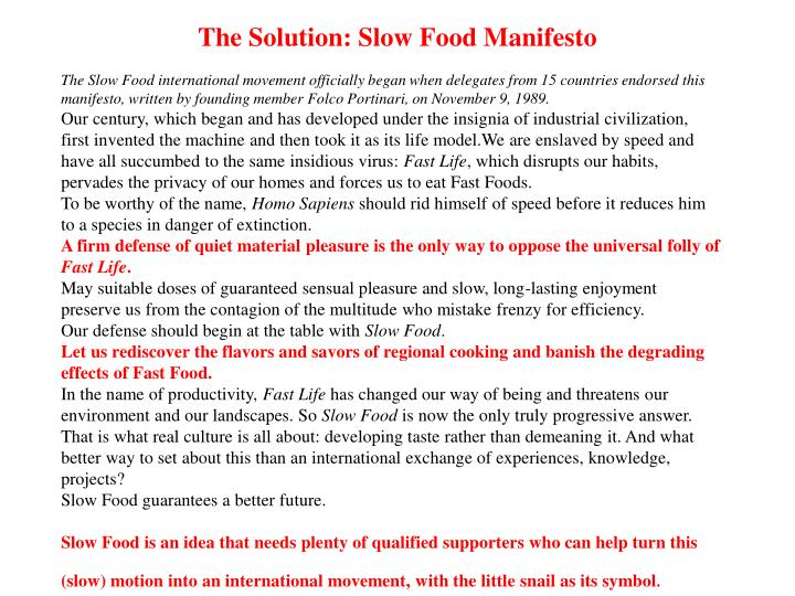 The Solution: Slow Food Manifesto
