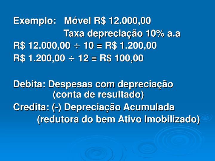 Exemplo:   Móvel R$ 12.000,00