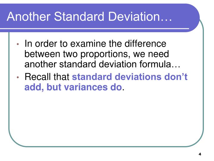 Another Standard Deviation…