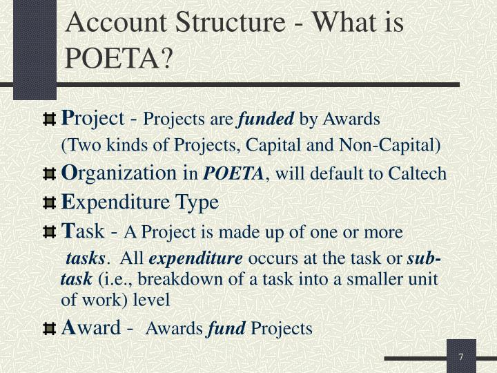 Account Structure - What is POETA?