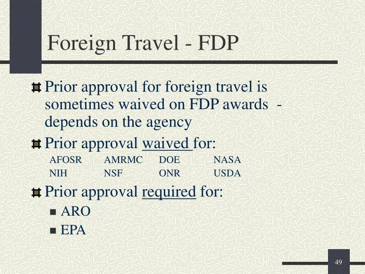 Foreign Travel - FDP