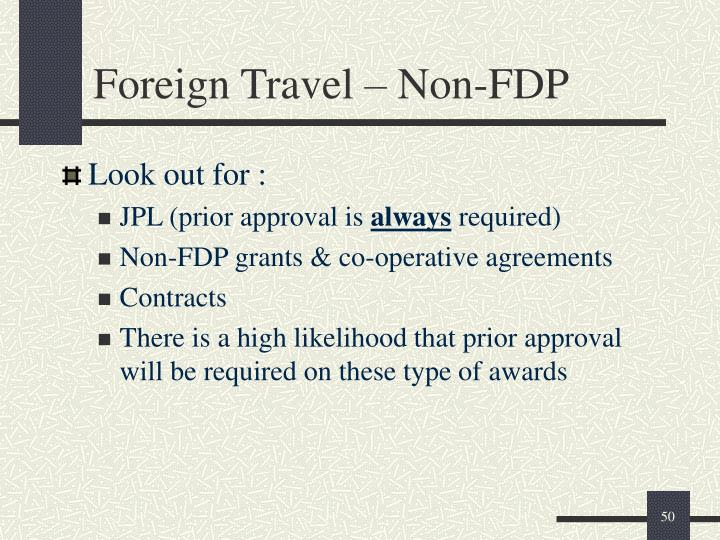 Foreign Travel – Non-FDP
