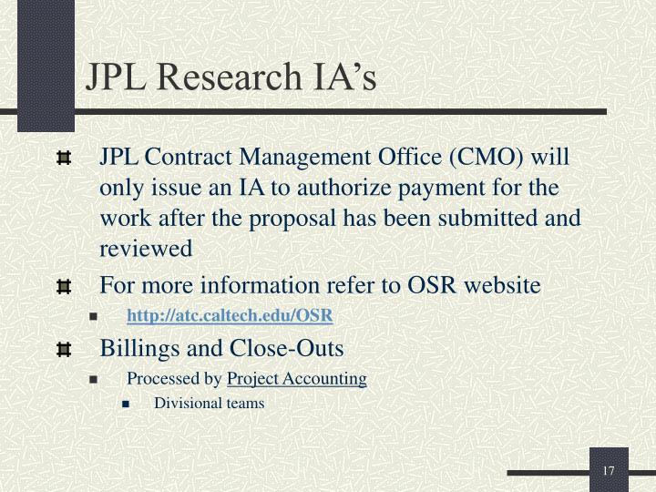 JPL Research IA's