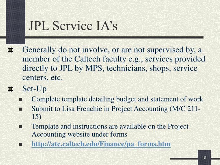 JPL Service IA's