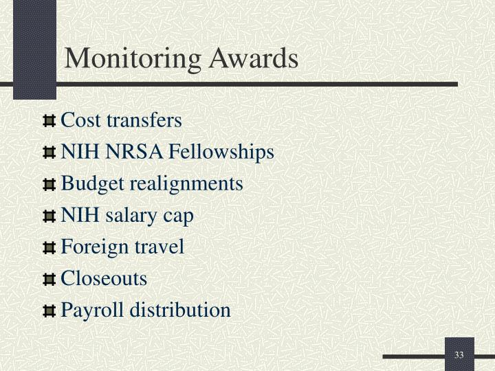 Monitoring Awards