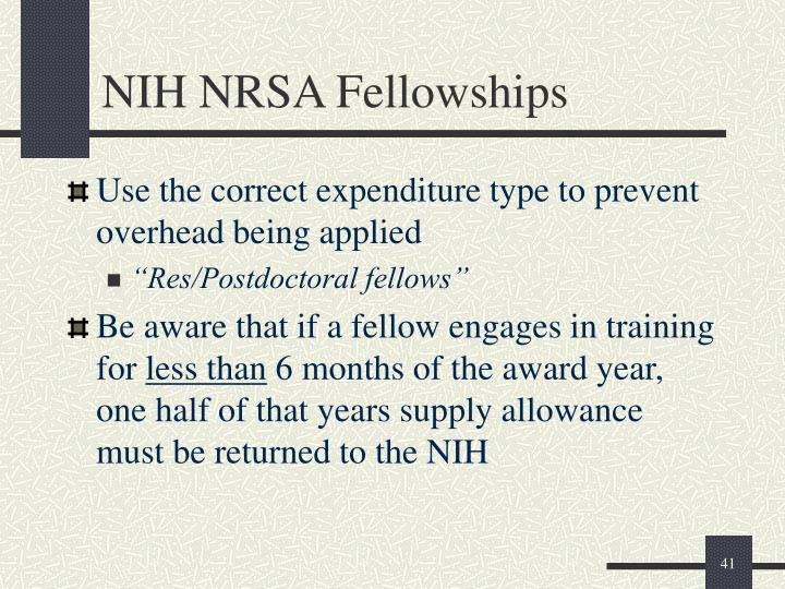 NIH NRSA Fellowships