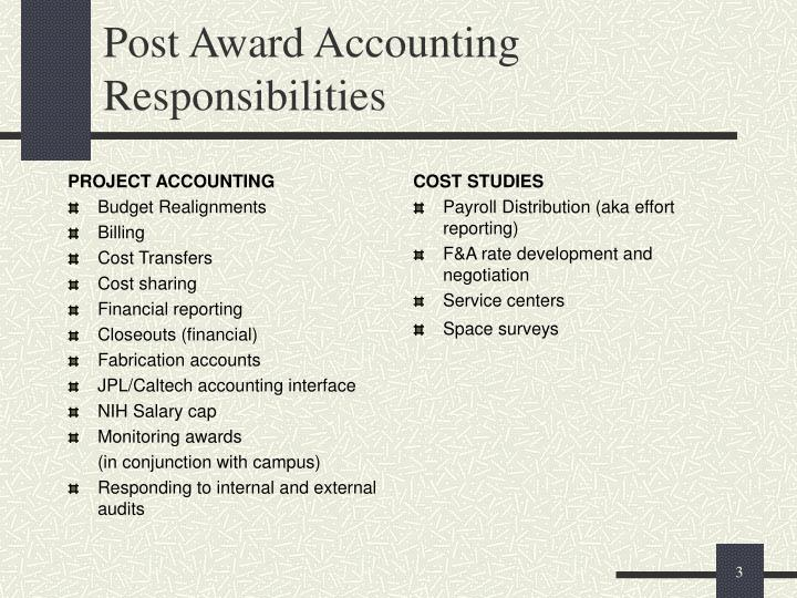 Post award accounting responsibilities