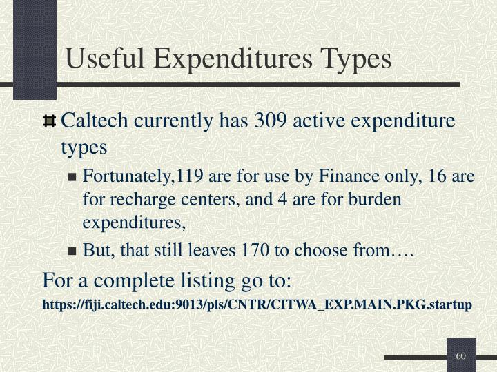 Useful Expenditures Types