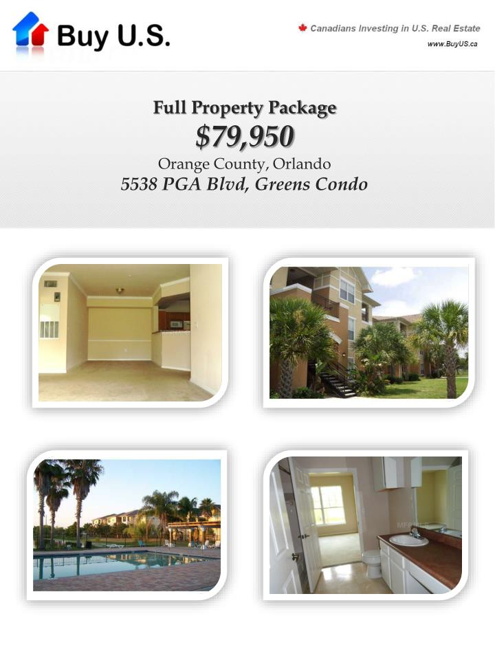 Full property package 79 950 orange county orlando 5538 pga blvd greens condo