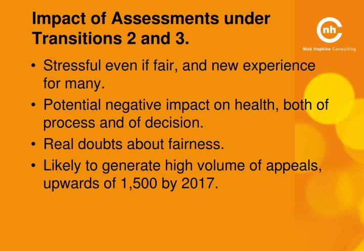 Impact of Assessments under Transitions 2 and 3.