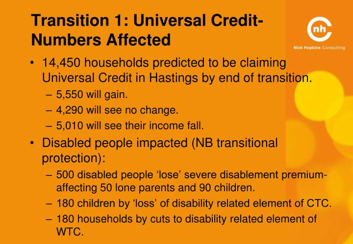 Transition 1: Universal Credit- Numbers Affected