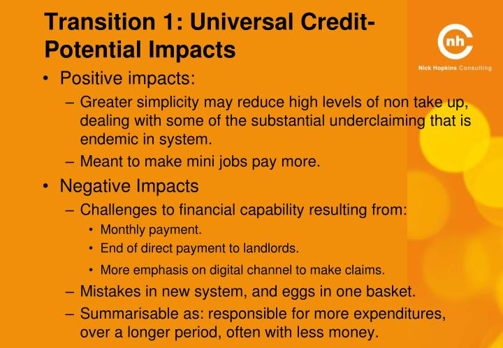 Transition 1: Universal Credit- Potential Impacts