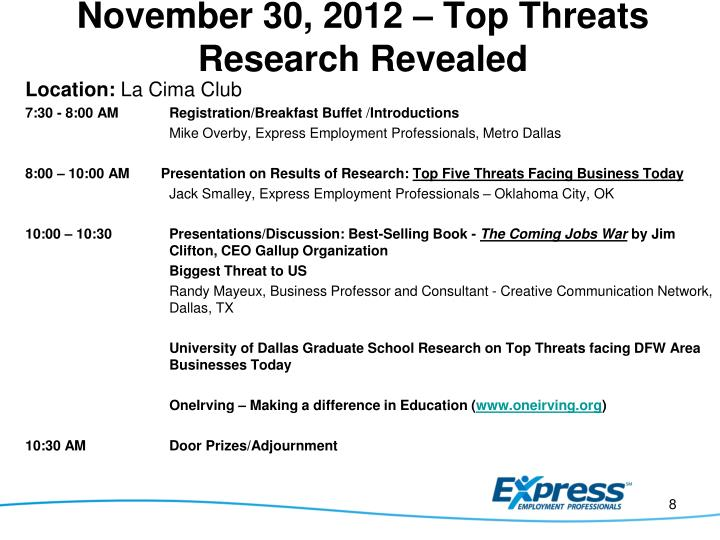 November 30, 2012 – Top Threats Research Revealed