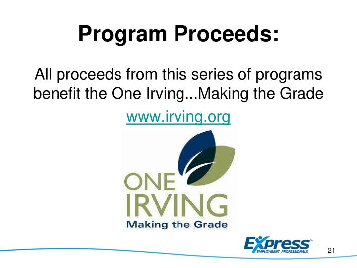 Program Proceeds:
