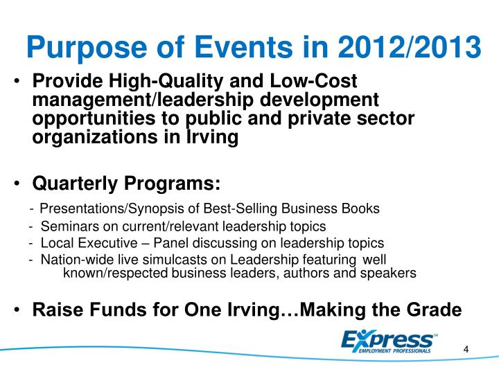 Purpose of Events in 2012/2013