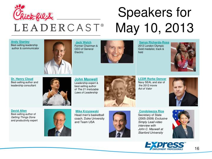 Speakers for May 10, 2013
