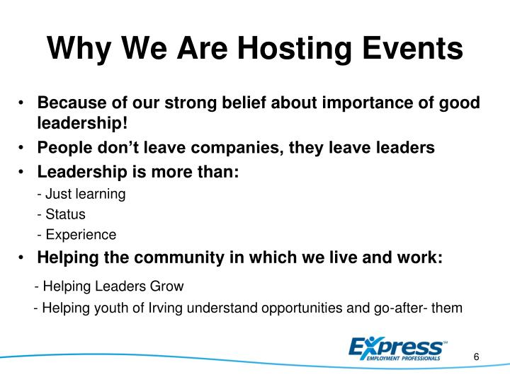 Why We Are Hosting Events