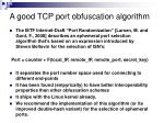 a good tcp port obfuscation algorithm