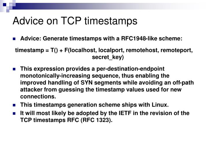 Advice on TCP timestamps