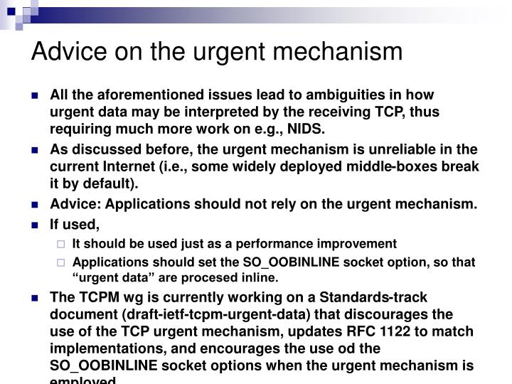 Advice on the urgent mechanism