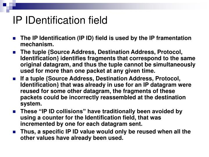 IP IDentification field