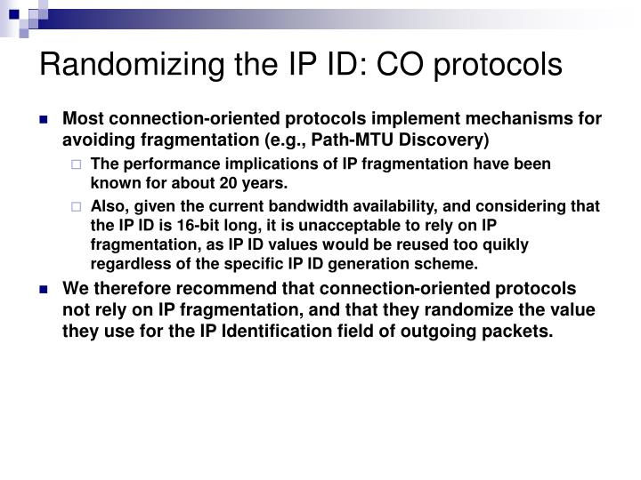 Randomizing the IP ID: CO protocols