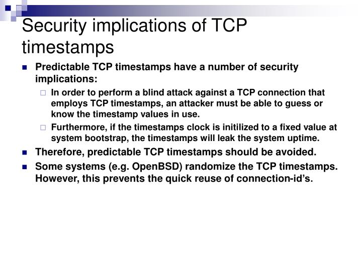 Security implications of TCP timestamps