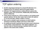 tcp option ordering