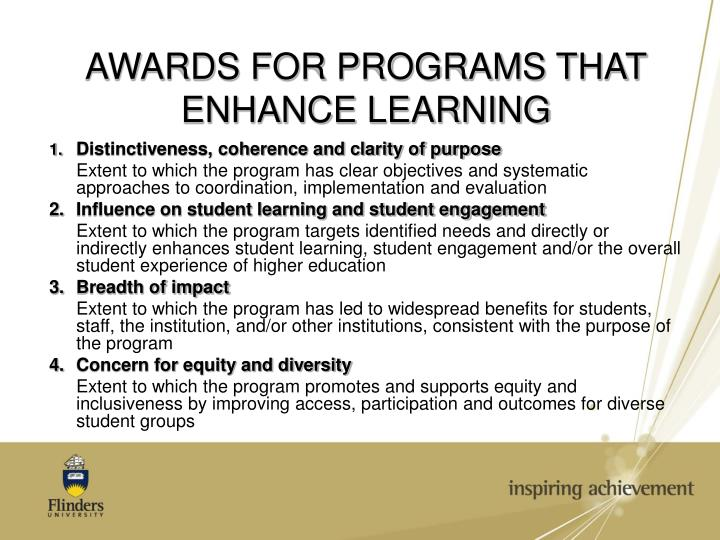 AWARDS FOR PROGRAMS THAT