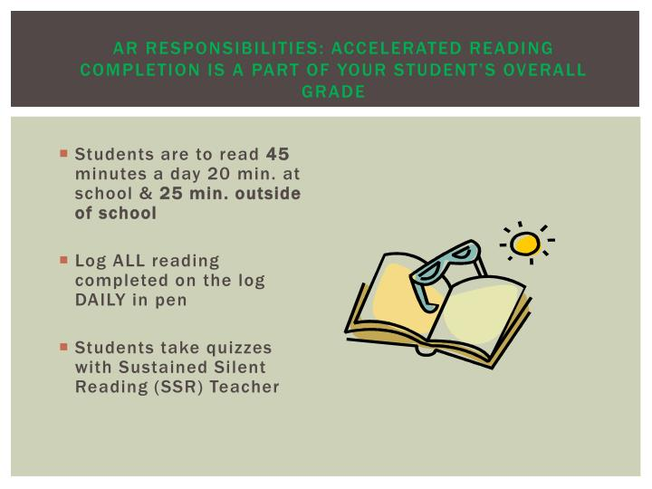AR Responsibilities: Accelerated Reading completion is a part of your student's overall grade