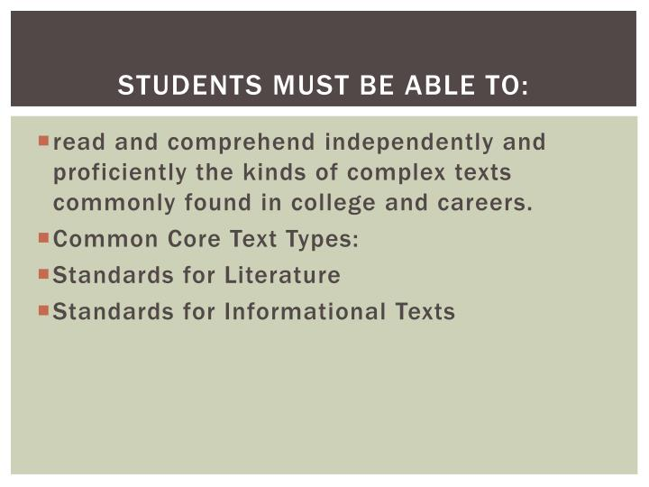Students must be able to: