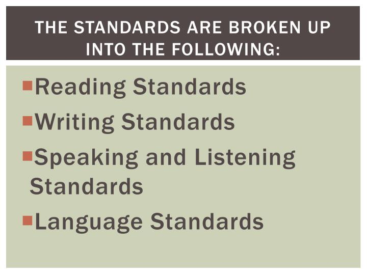 The Standards are broken up into the following:
