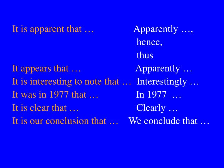It is apparent that …