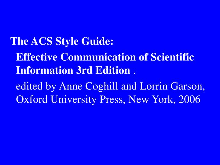 The ACS Style Guide: