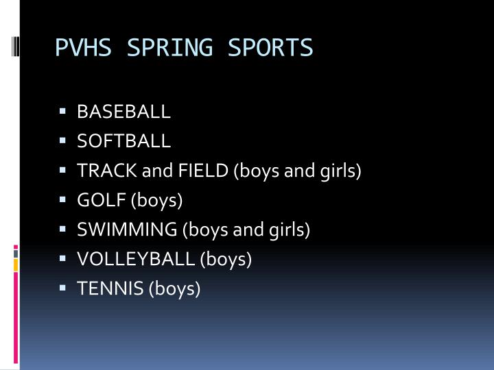 Pvhs spring sports