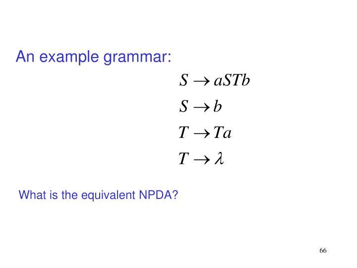 An example grammar: