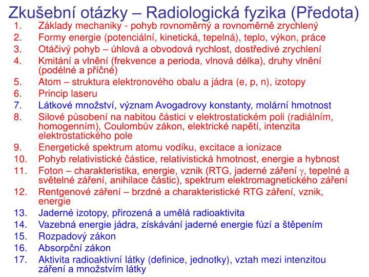 Zkušební otázky – Radiologická fyzika (Předota)