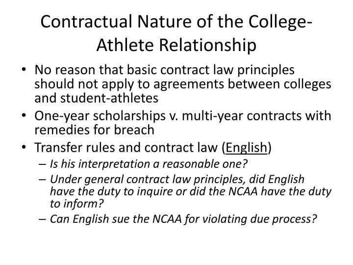 Contractual Nature of the College-Athlete Relationship