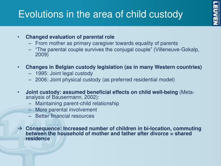 Evolutions in the area of child custody