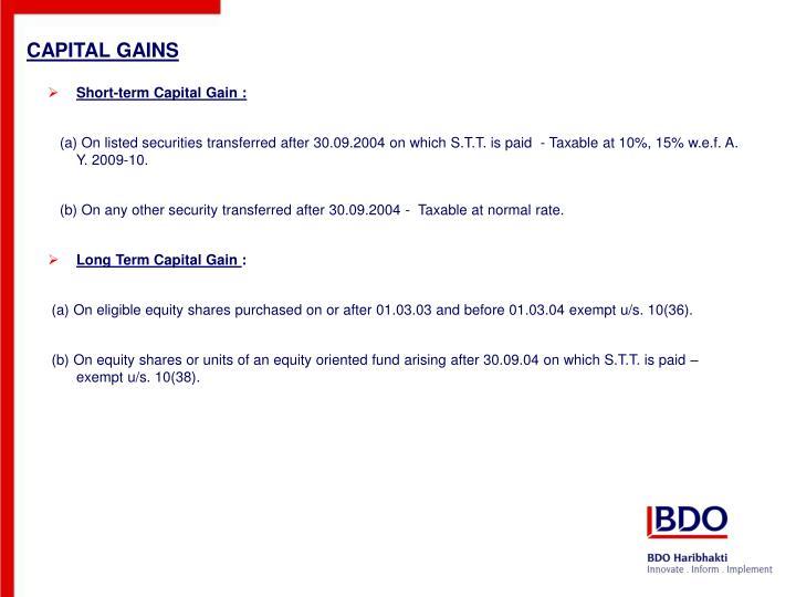 Short-term Capital Gain :