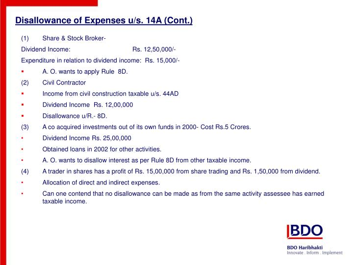 Disallowance of Expenses u/s. 14A (Cont.)