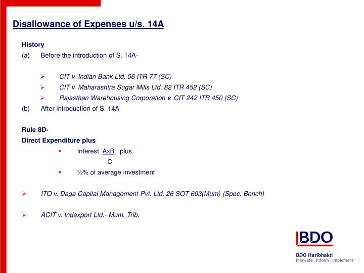 Disallowance of Expenses u/s. 14A