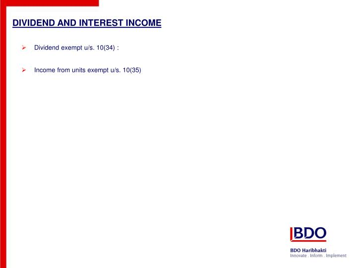 Dividend and interest income