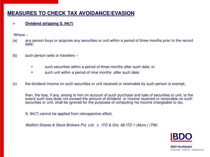 MEASURES TO CHECK TAX AVOIDANCE/EVASION