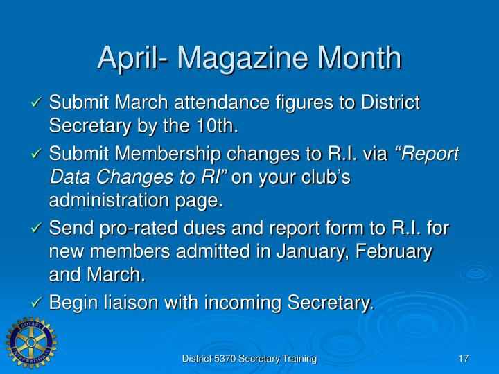 April- Magazine Month
