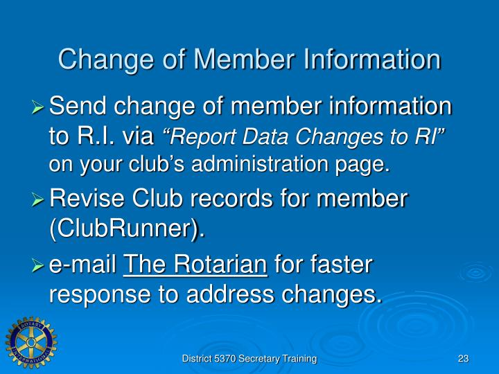 Change of Member Information