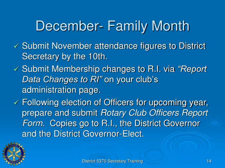 December- Family Month