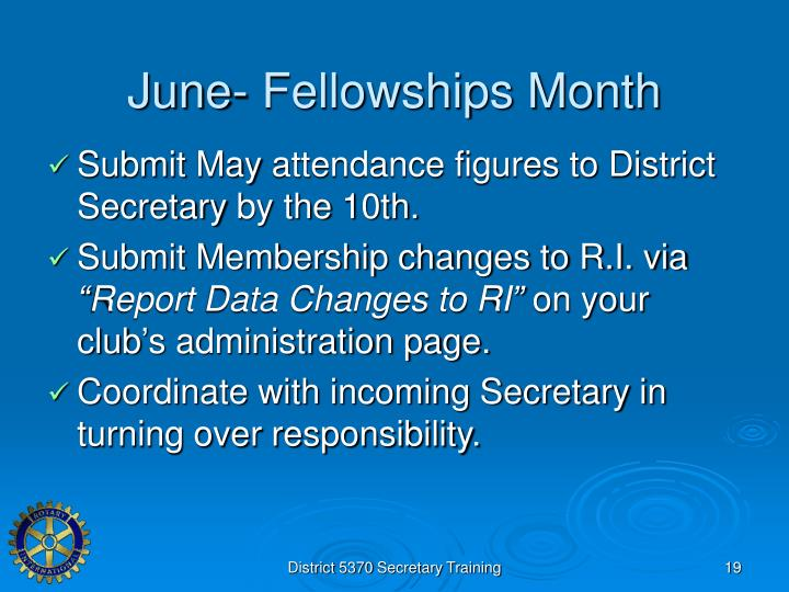 June- Fellowships Month