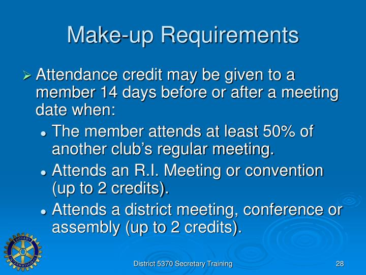 Make-up Requirements